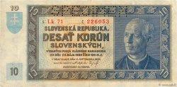 10 Korun SLOVAQUIE  1939 P.04s TTB