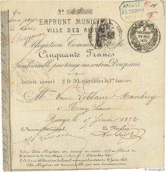 50 Francs FRANCE régionalisme et divers LES RICEYS 1872 JER.10.08b TTB
