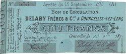 5 Francs FRANCE régionalisme et divers Courcelles-Lez-Lens 1870 JER.62.13d TTB
