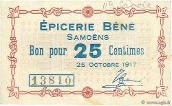 25 Centimes FRANCE régionalisme et divers SAMOËNS 1917 JPNEC.74.42 SUP