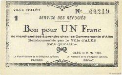 1 Franc FRANCE régionalisme et divers ALÈS 1940 K.001b SUP+