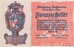 20 Heller LIECHTENSTEIN  1920 P.02 NEUF