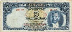 5 Lira TURQUIE  1937 P.127 TTB
