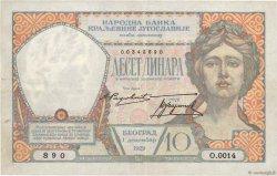 10 Dinara YOUGOSLAVIE  1929 P.026 TTB