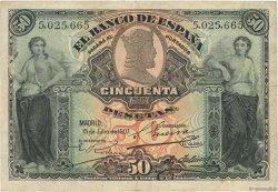 50 Pesetas ESPAGNE  1907 P.063a TTB