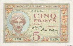 5 Francs MADAGASCAR  1937 P.35 pr.SUP