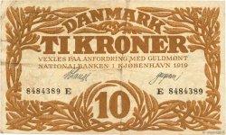 10 Kroner DANEMARK  1919 P.021h TB+