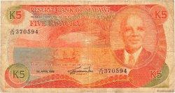 5 Kwacha MALAWI  1988 P.20b TB