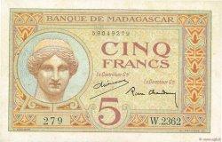 5 Francs MADAGASCAR  1937 K.802b SUP