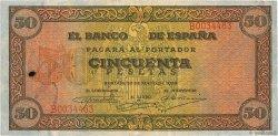 50 Pesetas ESPAGNE  1938 P.112 TB