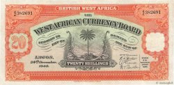20 Shillings AFRIQUE OCCIDENTALE BRITANNIQUE  1948 P.08b TTB