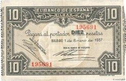 10 Pesetas ESPAGNE  1937 P.S562f TTB