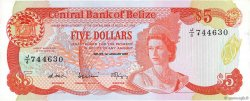 5 Dollars BELIZE  1987 P.47a TTB+