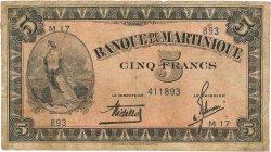 5 Francs type Américain MARTINIQUE  1942 P.16b pr.TB