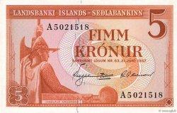 5 Kronur ISLANDE  1957 P.37b SPL