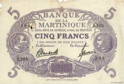 5 Francs Cabasson violet MARTINIQUE  1946 P.06 TB