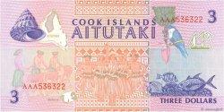 3 Dollars COOK ISLANDS  1992 P.07a UNC