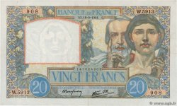 20 Francs TRAVAIL ET SCIENCE FRANCE  1941 F.12.18 TTB