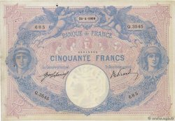 50 Francs BLEU ET ROSE FRANCE  1909 F.14.22 pr.TTB