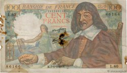 100 Francs DESCARTES FRANCE  1943 F.27.03 G