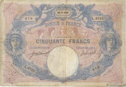 50 Francs BLEU ET ROSE FRANCE  1916 F.14.29 VG