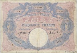 50 Francs BLEU ET ROSE FRANCE  1909 F.14.22 F-