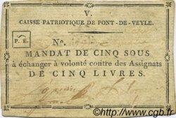 5 Sous FRANCE régionalisme et divers Pont De Veyle 1792 Kc.01.074 TTB