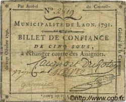 5 sous FRANCE régionalisme et divers LAON 1791 Kc.02.095 TB