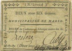 2 Sous 6 Deniers FRANCE régionalisme et divers MARLE 1792 Kc.02.114 TTB