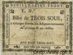 3 Sous FRANCE régionalisme et divers NEUILLY SAINT FRONT 1792 Kc.02.139 TB+