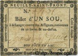 1 Sou FRANCE régionalisme et divers NEUILLY SAINT FRONT 1792 Kc.02.140 TB+