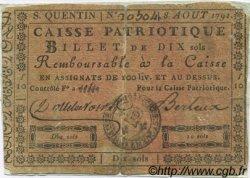 10 Sols FRANCE régionalisme et divers SAINT QUENTIN 1791 Kc.02.202 TB