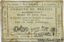 5 Sols FRANCE régionalisme et divers VERVINS 1792 Kc.02.238 TB+