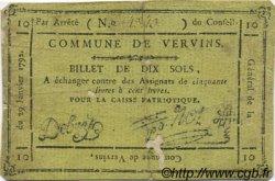 10 Sols FRANCE régionalisme et divers VERVINS 1792 Kc.02.239 TB+