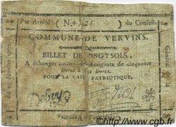 20 Sols FRANCE régionalisme et divers VERVINS 1792 Kc.02.241 TB