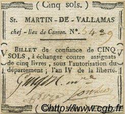 5 Sols FRANCE régionalisme et divers SAINT MARTIN DE VALLAMAS 1792 Kc.07.140 TTB