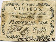 5 Sous FRANCE régionalisme et divers VIVIERS 1792 Kc.07.200 TTB
