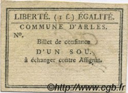 1 Sou FRANCE régionalisme et divers ARLES 1792 Kc.13.008 TTB