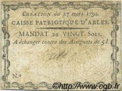 20 Sols FRANCE régionalisme et divers Arles 1792 Kc.13.015 TB+