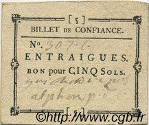 5 Sols FRANCE régionalisme et divers Entraigues 1792 Kc.13.047b SUP