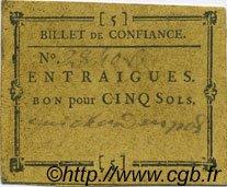 5 Sols FRANCE régionalisme et divers ENTRAIGUES 1792 Kc.13.047b var SUP