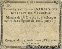 10 Sols FRANCE régionalisme et divers Entraigues 1792 Kc.13.048a TTB