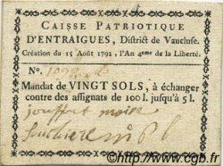 20 Sols FRANCE régionalisme et divers ENTRAIGUES 1792 Kc.13.049a TTB+