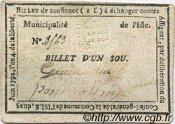1 Sou FRANCE régionalisme et divers ISLE SUR LA SORGUE 1792 Kc.13.059 var TTB+
