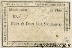 2 Sous 6 Deniers FRANCE régionalisme et divers ISLE SUR LA SORGUE 1792 Kc.13.060 TB+