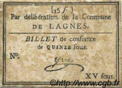 15 Sous FRANCE régionalisme et divers LAGNES 1792 Kc.13.074 TTB