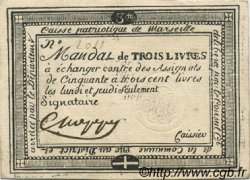 3 Livres FRANCE régionalisme et divers Marseille 1792 Kc.13.090 TTB