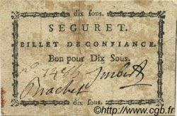 10 Sous FRANCE régionalisme et divers SEGURET 1792 Kc.13.122 TTB