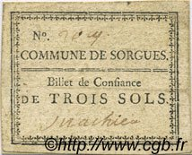 3 Sols FRANCE régionalisme et divers SORGUES 1792 Kc.13.124a TTB