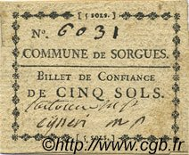5 Sols FRANCE régionalisme et divers Sorgues 1792 Kc.13.125a SUP